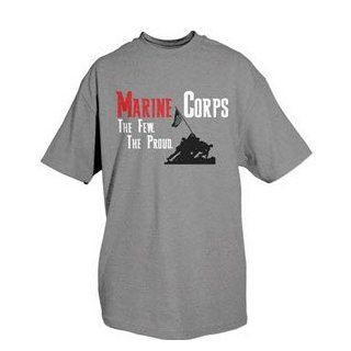One Sided Imprinted T Shirt   Marine Corps   Grey S  Athletic T Shirts  Sports & Outdoors