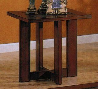 End Table with Slate Top in Cherry Finish