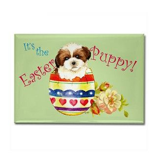 Easter Shih Tzu Rectangle Magnet by dogsink