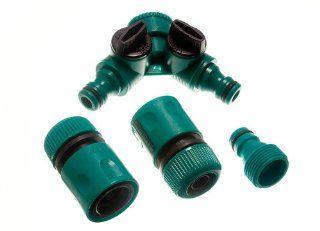 4 Female Quick Fix Garden Hose Conectors 2 Dual Tap And 2 Tool Adaptor   Pipes