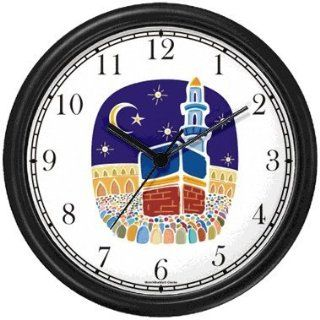 Mecca or Makkah al Mukarramah   The Kaaba   during the Hajj Moslem or Muslim Theme Wall Clock by WatchBuddy Timepieces (Slate Blue Frame)
