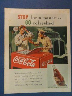 Coca cola Print Ad. Orinigal 1937 Vintage Magazine Art. 2 men gas station having a coke : Everything Else