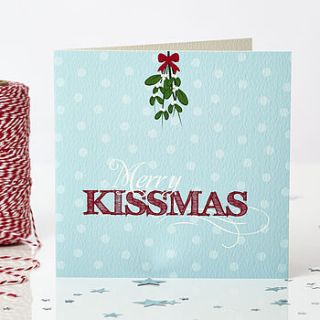 'merry kissmas' christmas card by bonnie blackbird