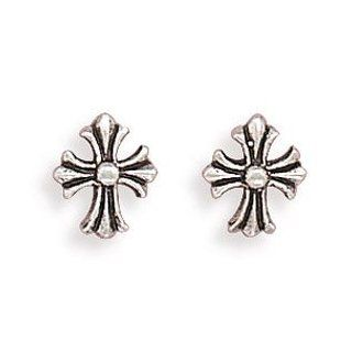Sterling Silver Small Oxidized Cross Post Earrings: West Coast Jewelry: Jewelry