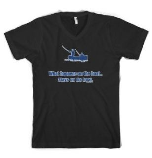(Cybertela) What Happens On The Boat Stays On The Boat Men's V neck T shirt Funny Fishing Tee: Clothing