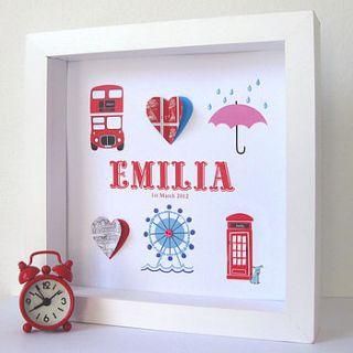 personalised london baby girl artwork by sweet dimple