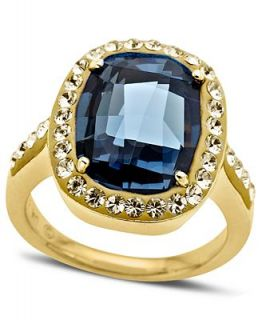 Kaleidoscope 18k Gold over Sterling Silver Ring, Denim Blue Crystal Cushion Cut Ring with Swarovski Elements   Rings   Jewelry & Watches