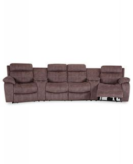 Justin II Fabric Reclining Sectional Sofa, 6 Piece Power Recliner (4 Power Motion Recliners & 2 Consoles) 148W x 53D x 39H   Furniture