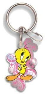 Looney Tunes Tweety Bird Happy in Pink Enamel Key Chain Automotive