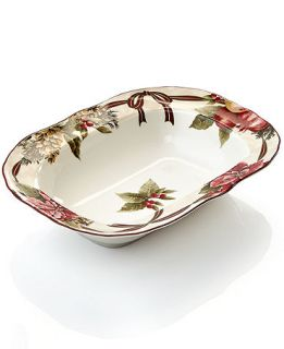 222 Fifth Holiday Yuletide Celebration Oval Vegetable Bowl   Serveware   Dining & Entertaining