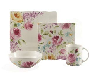 222 5th Floral Fete 16 Piece Square Dinnerware Set, Service for 4: Kitchen & Dining