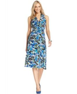 Evan Picone Dress, Sleeveless Floral Print Ruched   Dresses   Women