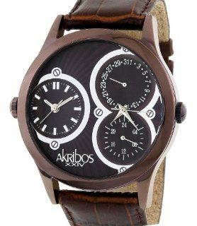 Akribos XXIV Men's AKG202 BR 'Quasar' Dual Time Watch Watches
