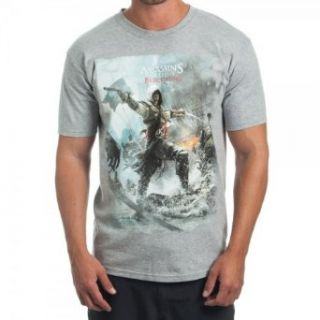 Assassins Creed Black Flag Men's Heather Grey T Shirt: Movie And Tv Fan T Shirts: Clothing