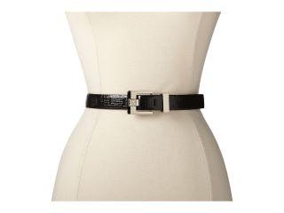 Anne Klein 25mm Cross Hatch Panel On Logo With Buckle Womens Belts (Black)