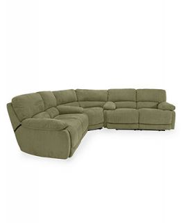 Nina Leather Reclining Sectional Sofa, 3 Piece Power Recliner (Sofa, Wedge and Sofa) 139W X 139D ...