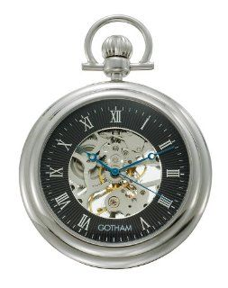 Gotham Men's Silver Tone Mechanical Pocket Watch with Desktop Stand # GWC14055SB ST at  Men's Watch store.