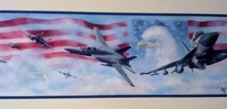 Wallpaper Border Air Force Jet Fighters American Flag & Eagle with Blue Trim