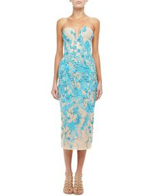 Rafael Cennamo Embroidered Strapless Dress, Turquoise