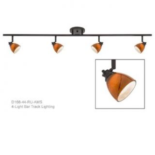 Decorative Vanity Fixture in Rust Finished with Amber Glass Shade D168 44 RU AMS   Island Light Fixtures
