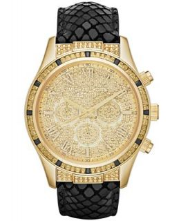 Michael Kors Womens Chronograph Layton Black Leather Strap Watch 44mm MK2310   Watches   Jewelry & Watches