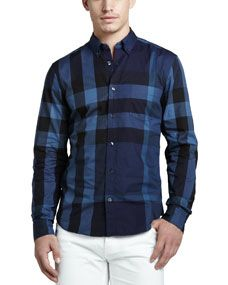 Burberry Brit Large Check Sport Shirt, Navy