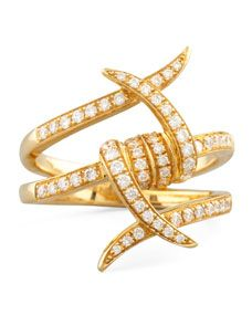 Stephen Webster Forget Me Knot Yellow Gold Diamond Barbed Wire Ring