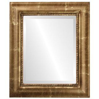 Ornate wood Rectangle Beveled Wall Mirror in a Gold Heritage style Champagne Gold Frame 17x21 outside dimensions   Wall Mounted Mirrors