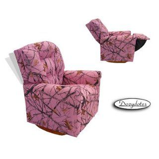 Four Button Rocker Kid's Recliner Upholstery Fabric   Camo Pink with True Timber   Childrens Chairs