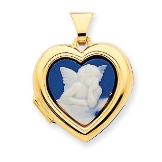 14k Gold Polished Heart Shaped Angel Agate Cameo Inlay Locket Real Goldia Designer Perfect Jewelry Gift: Jewelry