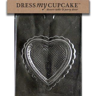 Dress My Cupcake DMCV149BSET Chocolate Candy Mold, Pretty Heart Pour Box Bottom, Set of 6 Kitchen & Dining