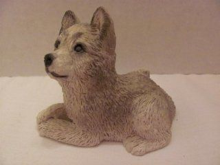 """Vintage   STONE CRITTERS   """"WOLF"""" CUB   FIGURINE (approx. 2 1/2"""" Tall / 3 1/4"""" Width)   #SCB 145   by United Design Corp. (UDC) / (Noble, OK) / Painted by Lisa Burton  Collectible Figurines"""