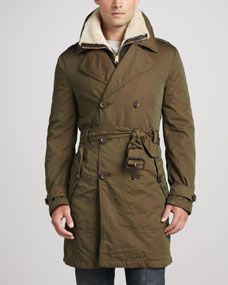 Burberry Brit Trench Coat with Removable Shearling Bib, Camel