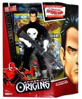 "Hasbro Year 2006 Marvel Spider Man Origins Signature Series Fully Poseable 9 Inch Tall Action Figure   1st Appearance PUNISHER with Assault Rifle Plus Bonus ""The Amazing Spider Man"" #129 Comics: Toys & Games"