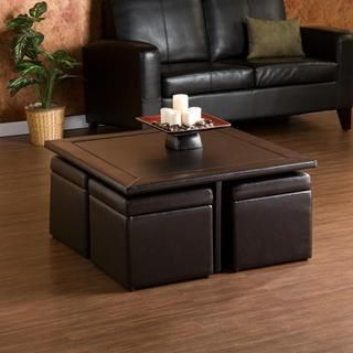 Crestfield Dark Brown Coffee Table/ Storage Ottoman Set Upton Home Coffee, Sofa & End Tables