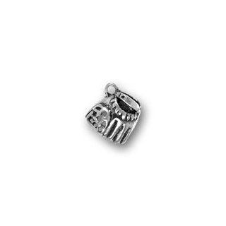 Sterling Silver Catcher's Mitt Charm with Split Ring #2950