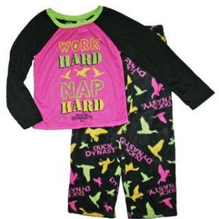 Duck Dynasty Girls Sz 6 16 Fleece Pajama Set (L (10/12), Black): Clothing