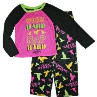 Duck Dynasty Girls Sz 6 16 Fleece Pajama Set (L (10/12), Black): Clothing