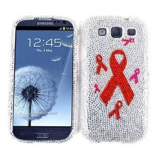 Cell Armor I747 SNAP FD269 Snap On Case for Samsung Galaxy S III I747   Retail Packaging   Full Diamond Crystal/1+5 Breast Cancer Ribbon: Cell Phones & Accessories