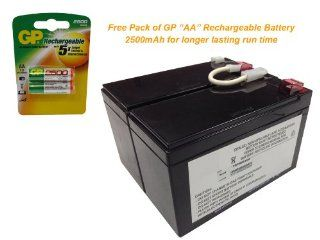 APC RBC109 Battery Replacement for APC BackUPS XS 1300 LCD   Powerwarehouse 12V, 9.0Amp with FREE GP Rechargeable AA NiMH Battery: Everything Else