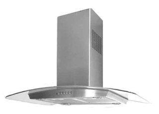 """Island Range Hood Stainless Steel Designer Glass 30"""" KA 113 CS. Made in Italy."""