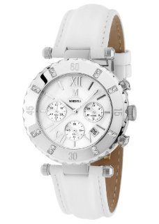 Momentus White Leather Band Chronograph Women's Casual Wrist Watch TC105S 09BD: Momentus: Watches