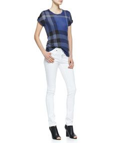 Burberry Brit Short Sleeve Check Tee & Skinny Straight Leg Jeans