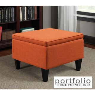 Portfolio Engle Orange Linen Table Storage Ottoman PORTFOLIO Ottomans