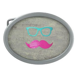 Funny Pink mustache teal hipster glasses wood Oval Belt Buckle