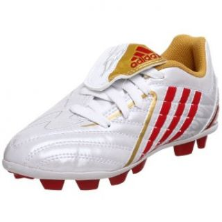 adidas Little Kid/Big Kid Predito Ps Trx Hg Soccer Cleat, White/Red/Gold, 4 M US Big Kid Soccer Shoes Clothing