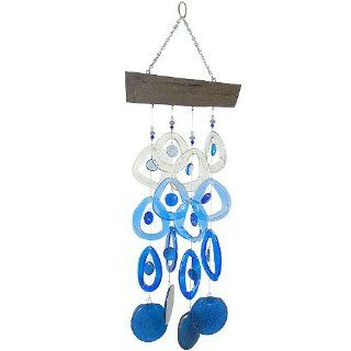 Recycled Glass Bottle Wind Chime on Driftwood  Glacier Blue  Modern Artisans  Patio, Lawn & Garden
