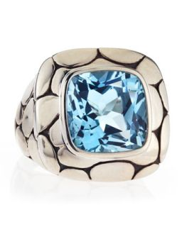 Batu Kali Blue Topaz Square Ring, Size 7
