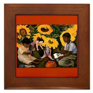 Diego Rivera Art Sunflower Kids Play Framed Tile   Decorative Tiles