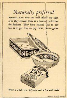 1926 Vintage Ad Fatima Turkish Blend Cigarette Box Pack   Original Print Ad